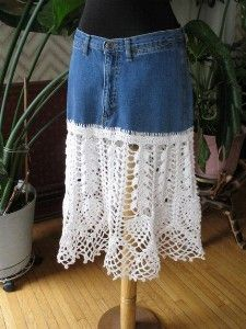 Upstyled jeans skirt with hand-crocheted lace in white cotton. Original jeans pockets, waistband and fly intact. via kaboodle