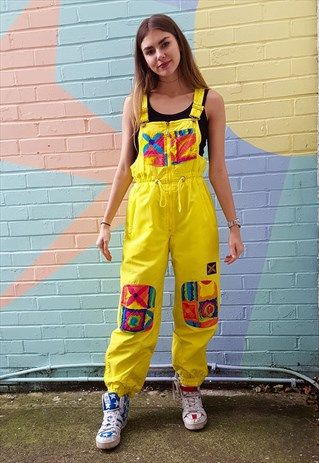 Vintage+80s+yellow+all-in-one+ski+suit+salopettes+with+print