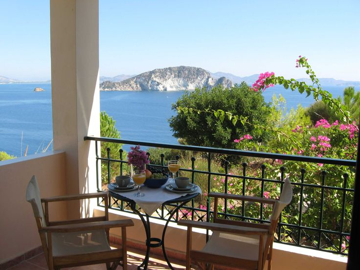 Get away for couples and families with toddler - our Turtle Island Sea View Studio Type A with sep. bathroom, kitchenette and sea view balcony @ Villas Cavo Marathia, hotel and apartment residence at Zakynthos Zante Island, Greece.