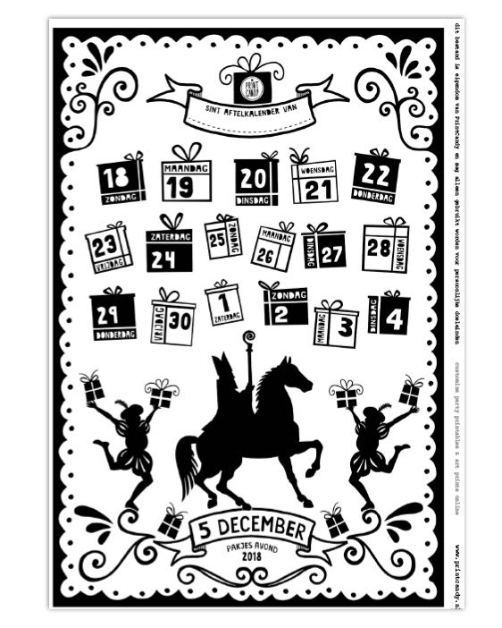 sint printable aftelkalender 2019 gratis printables