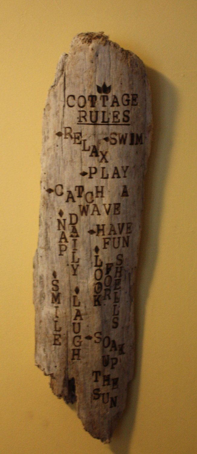 Cottage Rules Hand Made Drift Wood Wall Hanging-Wood Burned Sign