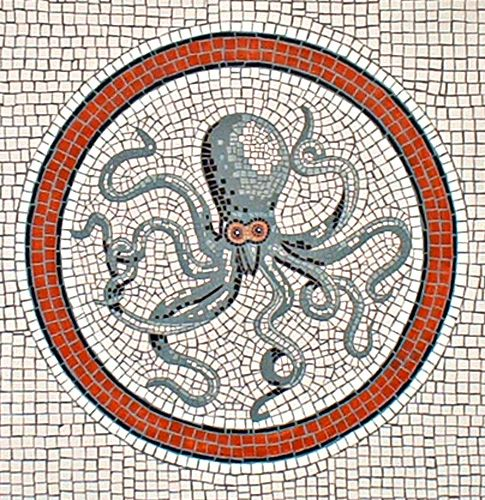 Octopus mosaic a la Pompeii: Trompe l'oeil painting by artist Adrian Card