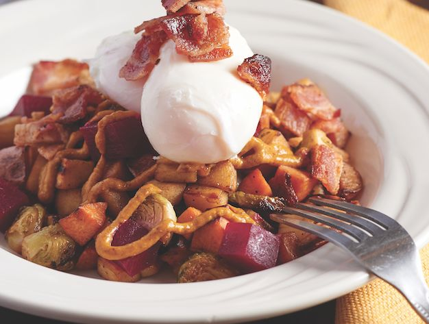 Makes 2 hearty brunch servings More unbelievable bacon recipes by Burritt's: Monkfish Bean and Bacon Stew Bacon and Feta Stuffed Butternut Squash Bourbon Maple Bread Pudding with …
