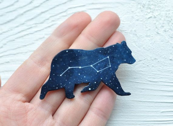 Ursa major brooch Bear brooch Wooden brooch bear Big by MagicTwirl