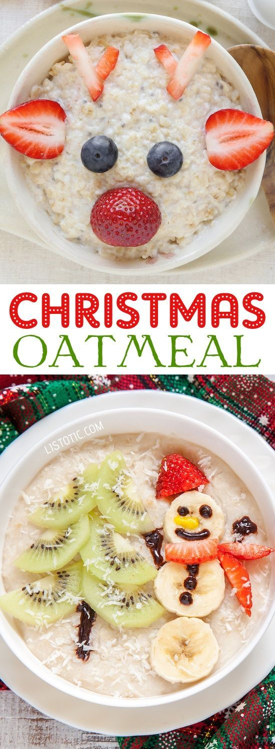 Christmas Oatmeal Breakfast for Kids | Over 15 fun, cute and easy Christmas breakfast ideas for kids! These creative recipes are so simple and easy to make, but are sure to make Christmas morning extra special. Everything from pancakes to toast and oatmeal! Listotic.com