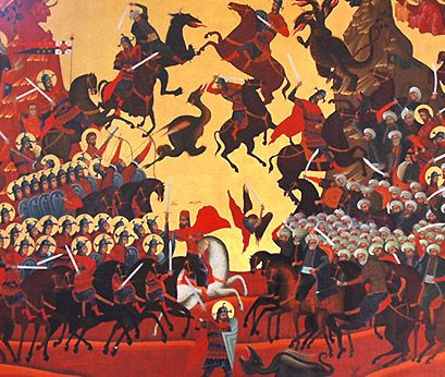 Orthodox icon of the Battle of Kosovo. All Serbs fighting against the Turks are shown saints with a halo around his head.  Source: http://www.pravoslavie.ru/arhiv/081002024407.htm