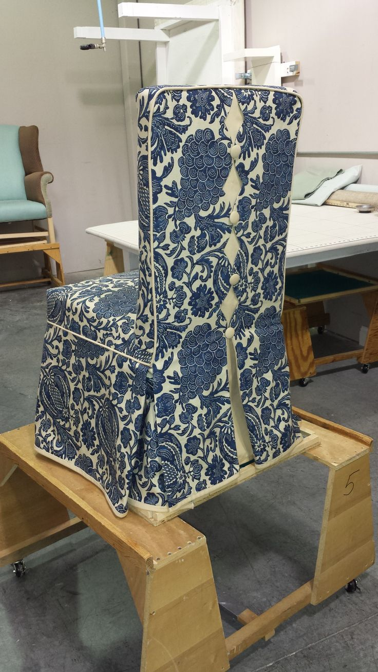 Custom Parsons Chair Slipcover With Decorative Back And Banded Skirt. Part 36