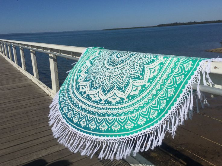 Buy soft cotton light weighted sea green ombre mandala roundie beach throw to add extra fun to your beach party. Shipping worldwide USA, UK, Canada, Australia and more.