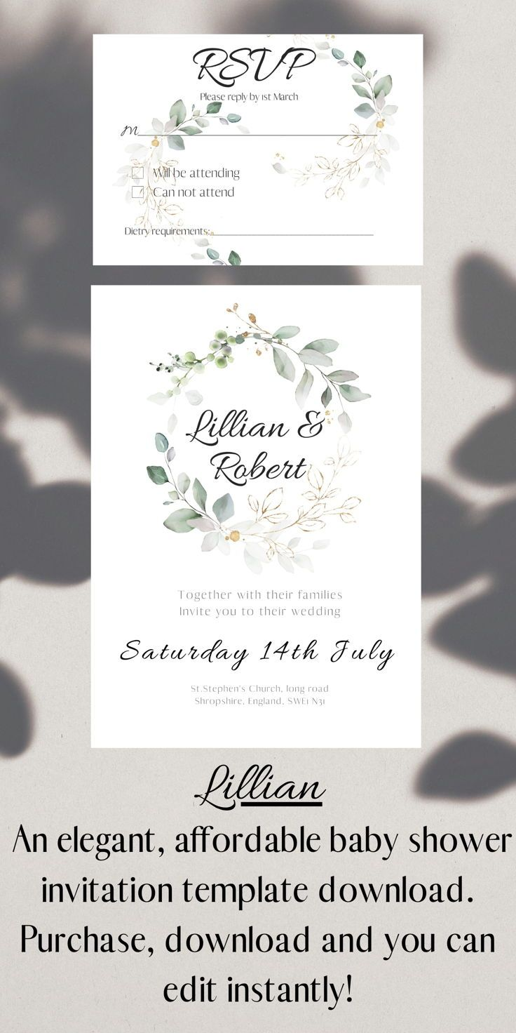 Lillian Wedding Invitation Rsvp Instant Download And Edit Wedding Invitation Packages Wedding Invitations Watercolor Wedding Invitations