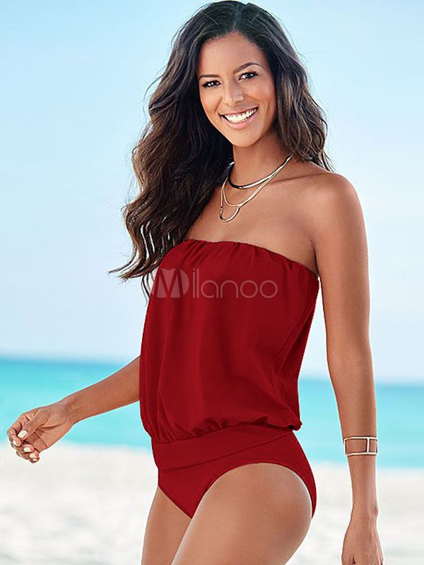 f798f2b3f38e6 One Piece Swimsuits Red Strapless Monokini Bathing Suits For Women Tight  Swimsuit, One Piece Swimsuit
