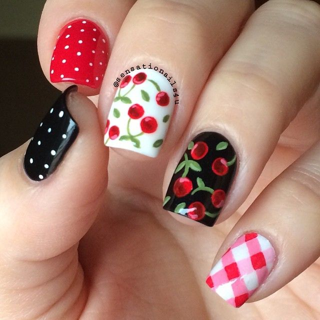 Polka dots, Cherries, and plaid nails. - Best 25+ Cherry Nail Art Ideas On Pinterest Cherry Nails, Dot