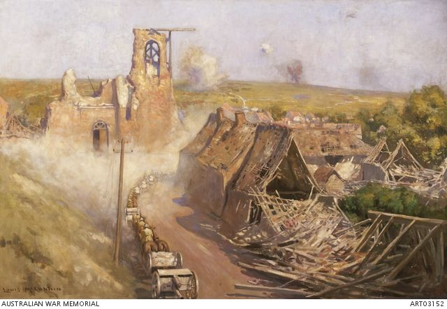 3rd Division Artillery passing through Sailly-le-Sec, August 1918 (also known as 'Going in through Sailly-le-Sec, 1918') A line of horse-drawn wagons and limbers in a cloud of dust passing ruined houses in the village of Sailly-le-Sec, Western Front. by Louis McCubbin