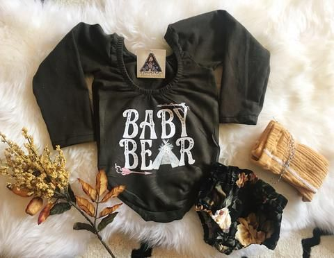 Olive green Baby Bear leotard - The Pine Torch. Baby girl clothes, toddler girl fashion, baby bear graphic top, boho baby chic.