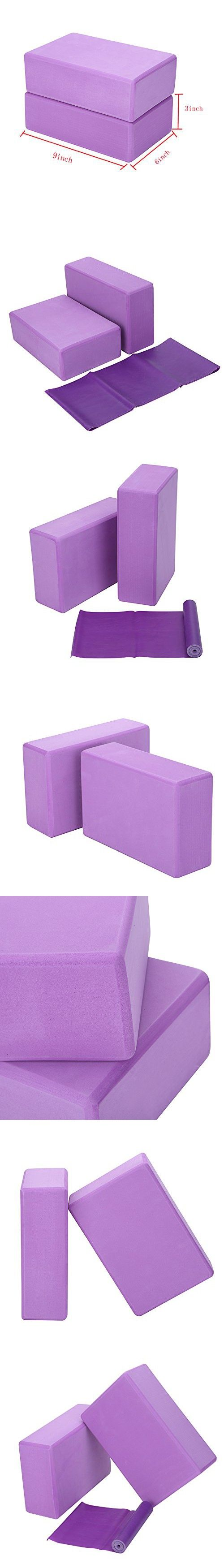 Yahill Yoga Block 2 Pack Set and Stretch Band for Gym Exercise Fitness Trainer