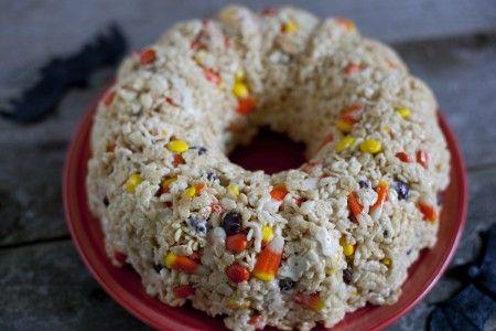 halloween rice krispies treat cake