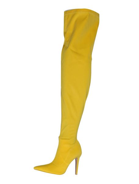 5593feac629 Women Stretch Boots High Heel Over Knee Boots Yellow Pointed Toe Thigh High  Boots