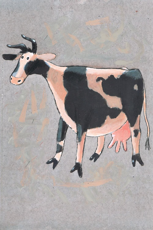 Titel: thema- Dieren rond de woning - Koe of stier.  Kunstenaar: Aleksandr Vakhrmeev  Afm.: 20 br. x 28 cm hg. Online Expo ''Dieren rond het huis'' . Collectie Postersquare  Techniek: waterverf op papier