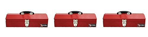Excel TB102-Red 16-Inch Portable Steel Tool Box, Red (3 PACK)