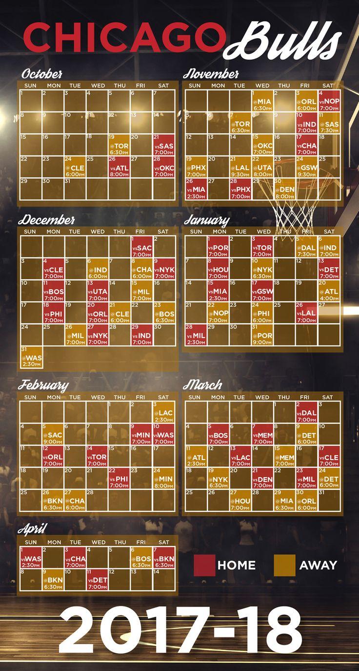 Chicago Bulls 2017-2018 schedule   Chicago bulls, Schedule ...