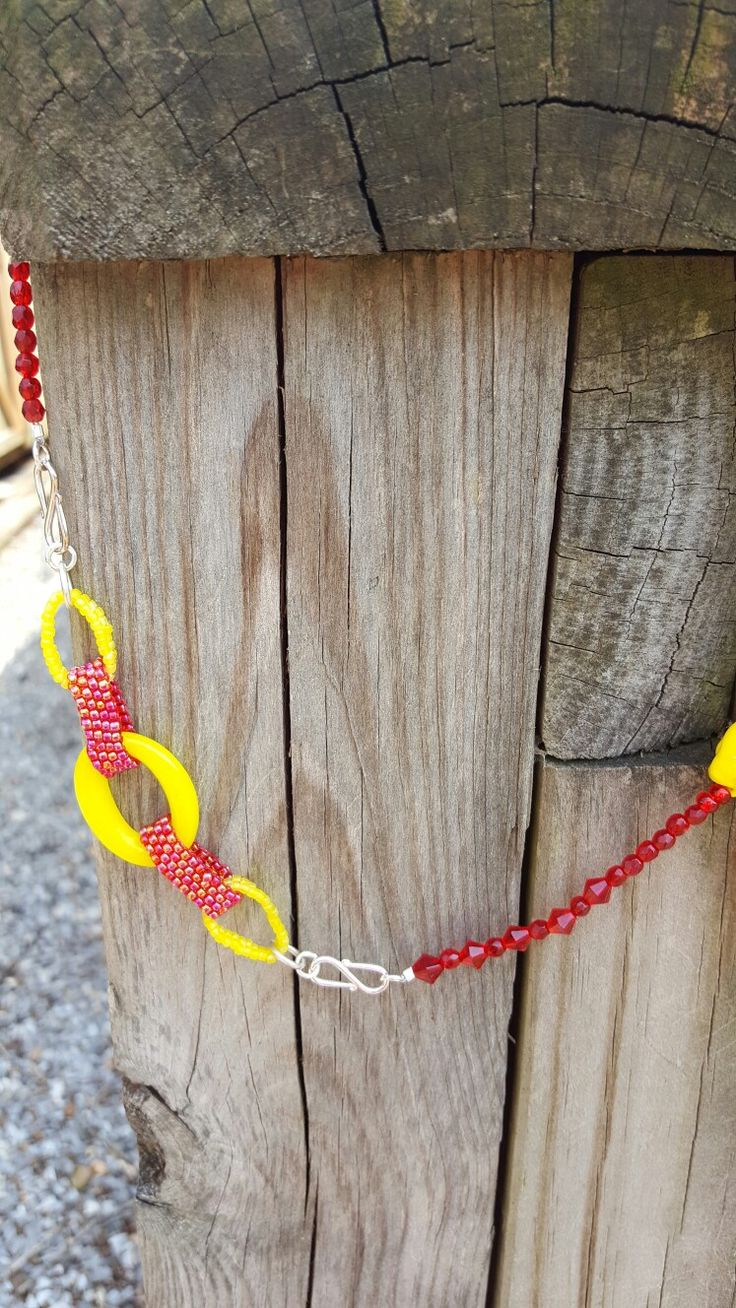 Here are the links I created with seed beads in a peyote stitch. The big yellow ring is the glass one that was sent to me. #beadsoupblogparty