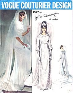 1960s Wedding Dress Bridal Gown Pattern Vogue Couturier Design 1347 John Cavanagh Of London Elegant Empire Dress Bust 32 Vintage Sewing Pattern FACTORY FOLDED