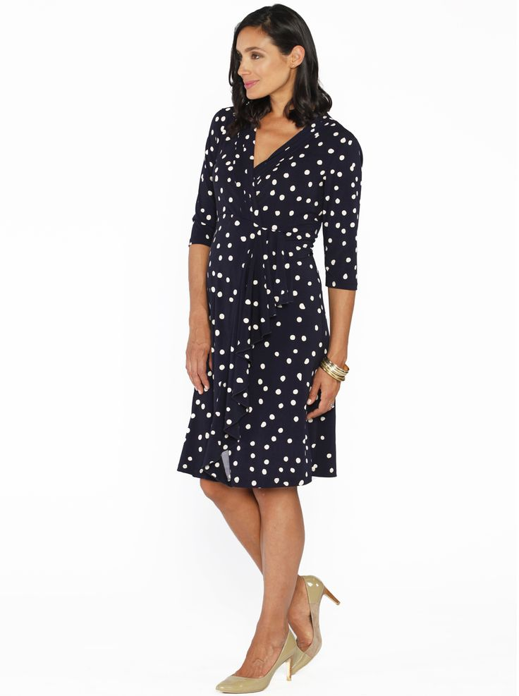 Mock Wrap Half Sleeve Dress in Polkadots, $69.95, is a stunning, elbow-length dress with a very flattering V neckline.