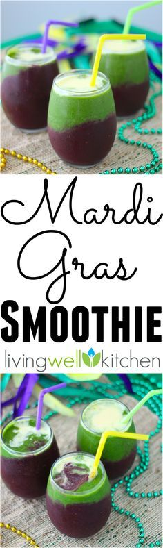 Festive, boozy Mardi Gras Smoothie recipe from /memeinge/ is a tasty on-the-go option for getting in your fruits & veggies while watching the parades roll by. Great idea for adults and kids (alcohol free option included) to celebrate the Mardi Gras season