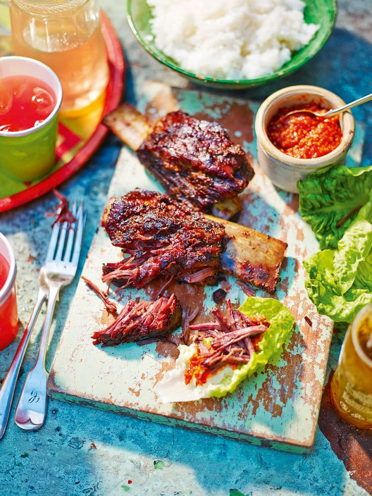 Judy Joo's Korean-style barbecue beef contains a variety of beautiful textures: crunchy lettuce, sticky rice and the smoky, spicy meat. An adaptation of a classic Korean dish.