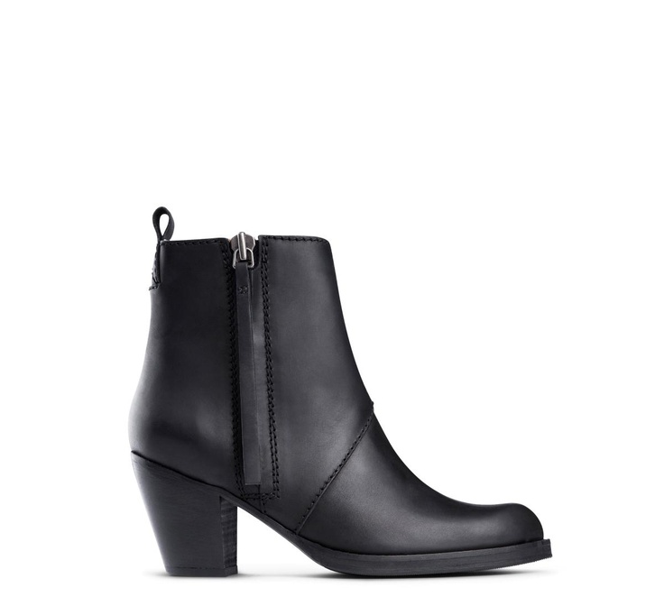 Acne Pistol Short are perfect everyday leather ankle boots with a low,  chunky stacked heel, round toe and stitched paneling.