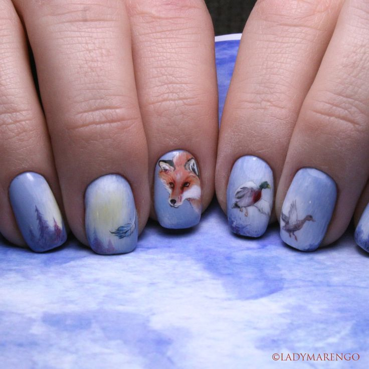 #geeknails #ladymarengo #шеллак #гельлак #нейларт #ногти #маникюр #дизайнногтей #nailart #naildesign #nails #winter #зима #Fox #лиса #duck #утки