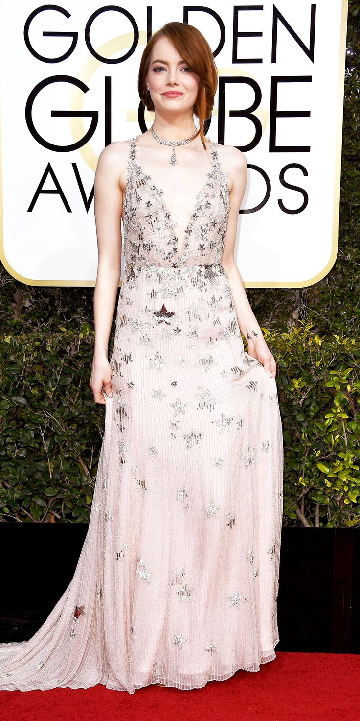 All the Glamorous Looks from the 2017 Golden Globes Red Carpet - Emma Stone from InStyle.com