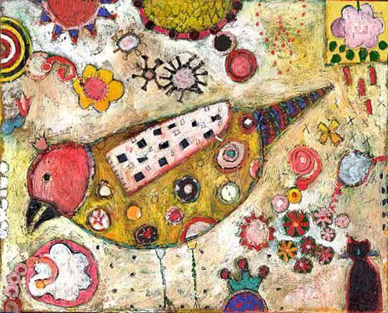 Jill Mayberg. Mixed media folk artist. Bird with a pink wing.