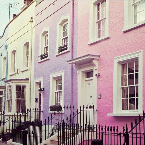 pastel buildings in london by Irene Suchocki