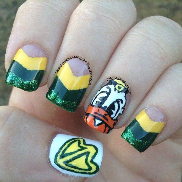 Oregon Ducks by idreamoflacquer #nail #nails #nailart