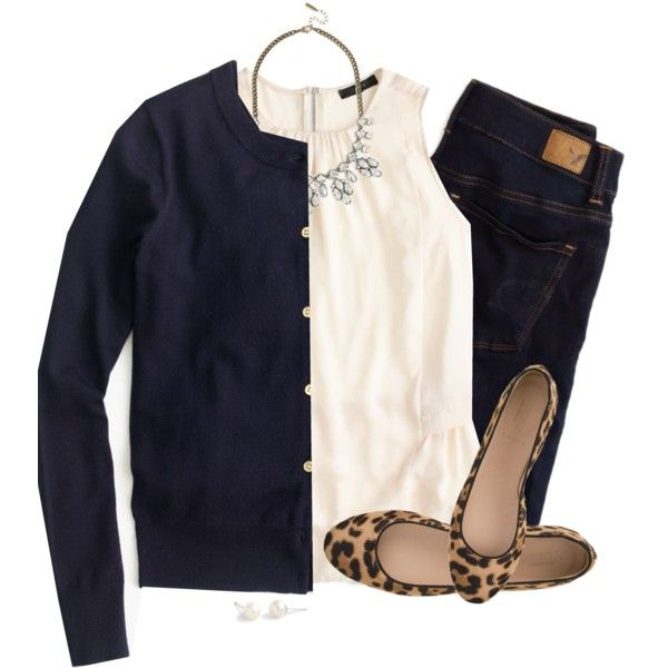 Navy, cream & leopard by steffiestaffie on Polyvore featuring polyvore, fashion, style, J.Crew and American Eagle Outfitters