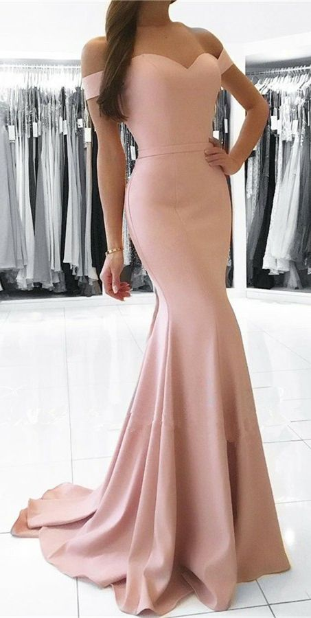 pearl pink mermaid prom dresses,elegant long prom dress,elegant formal evening dress,off the shoulder party dress