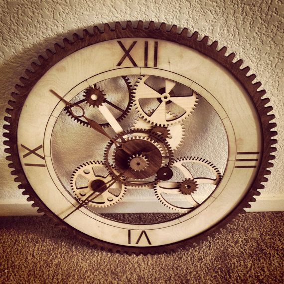 Decorative Handcrafted Wooden Gear Clock by BoxBo on Etsy, $80.00