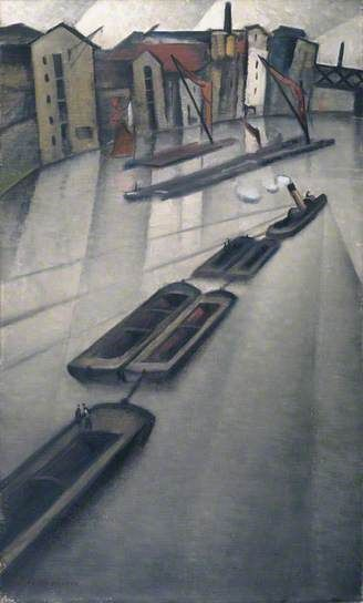 Barges on the Thames Christopher Nevinson