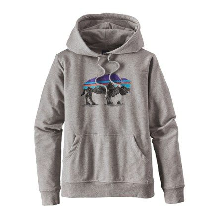 Made of an organic cotton/polyester/spandex blend, the Patagonia Fitz Roy Bison midweight hoodie has a classic yet feminine fit, and original artwork screen printed with PVC- and phthalate-free inks. Available at REI, 100% Satisfaction Guaranteed.