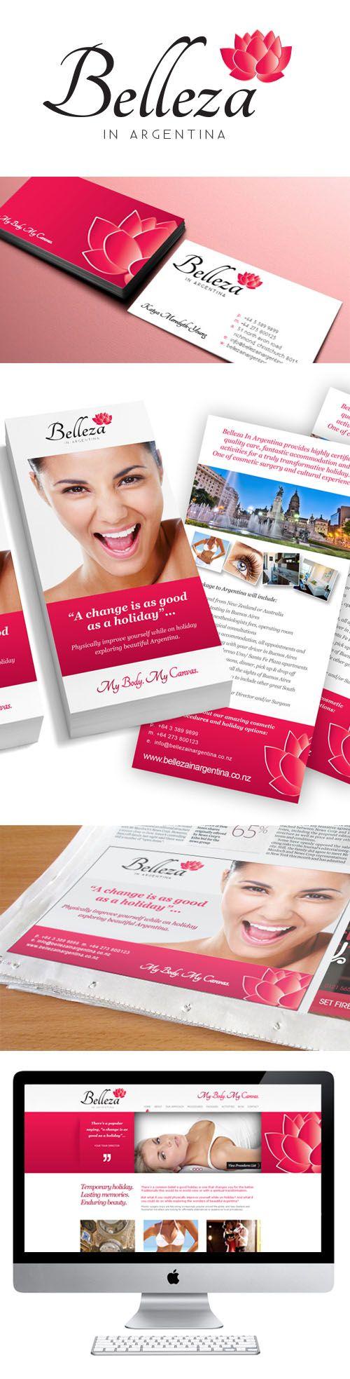 Belleza in Argentina branding, business card, flyer, advert and website design.