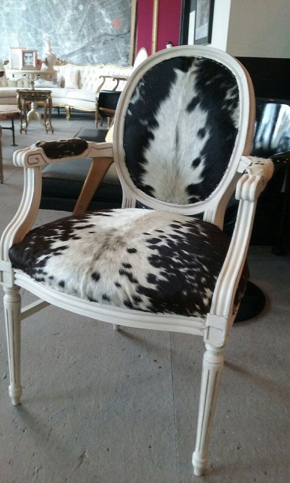 Cowhide chair vintage genuine Louis rustic by redesignrestoration