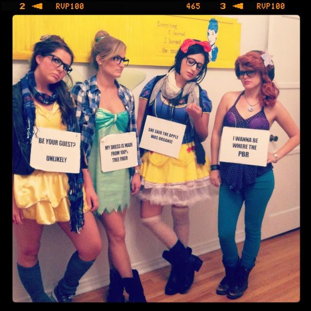 hipster princesses. Belle, Tnker Bell, Snow White and Ariel Costume Girls group costume idea. @Kristin Gitchell