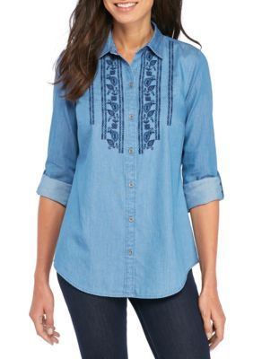 Kim Rogers Women's Chambray Embroidered Bodice Roll Sleeve Shirt - Med Wash/Navy - Xl