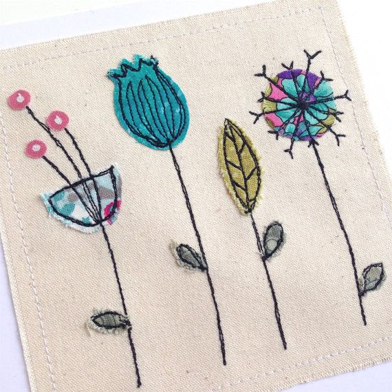 Botanical greeting card, personalised machine embroidered stitched fabric applique. Unframed art. Mother's day birthday. Nature seed heads