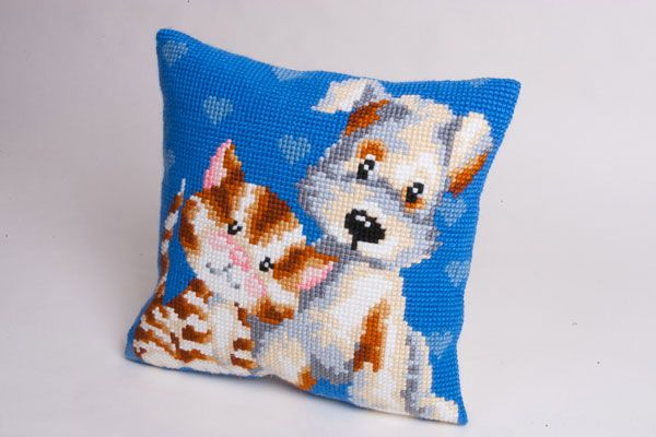Collection d'Art:5.110 - Les Amis - large count cross stitch cushion kit - On Sale Now - 40% Discount - Original Retail Price $40.00