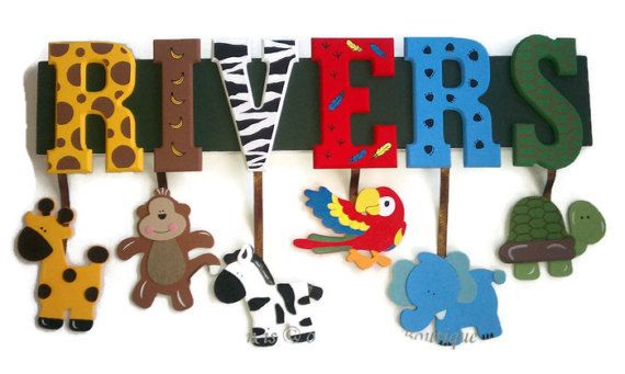 ~READ ENTIRE LISTING BEFORE PURCHASING!~  Beautifully hand painted, Jungle themed name sign Personalized with your childs name!  This listing is for a 4 LETTER name :o) It is 24 inches long and 5 inches tall ((The board will be longer if the name is more than 6 letters long))  Features adorable wood & Felt themed hangings- hanging from wooden letters that are hand painted with coordinating patterns. Perfect addition to your childs nursery or bedroom! Also makes a great Baby Shower gift!!!...