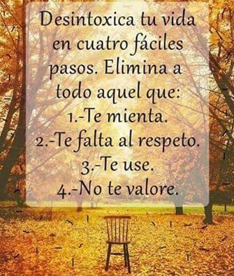 ...MIENTRAS NO TE ATREVAS A VALORARES A TÍ MISM@ Y TE TENGAS EL RESPETO PARA VIVIR CON DIGNIDAD CÓMO DESEAS SER RESPETAD@ Y TRATADO CON DIGNIDAD, Y RESPETO DEBIDO; ATRÉVETE A ENFRENTAR A TOD@S AQUELLAS PERSONAS QUÉ NO TE VALORAN Y RESPETAN; PUESTO QUE NADA PIERDES SI SE ALEJAN DE TÍ YÁ QUÉ AL NO RESPETARTE SIGNIFICA QUE NO MERECEN NI TÚ ATENCIÓN Y TIEMPO NI SIQUIERA POR UN SEGUNDO DE TU PENSAMIENTO ; DÉJALAS PASAR DE LARGO Y REGÁLALES UNA BENDICIÓN YÁ QUE SON MÁS POBRES QUÉ TÚ...❤️ MIGUEL