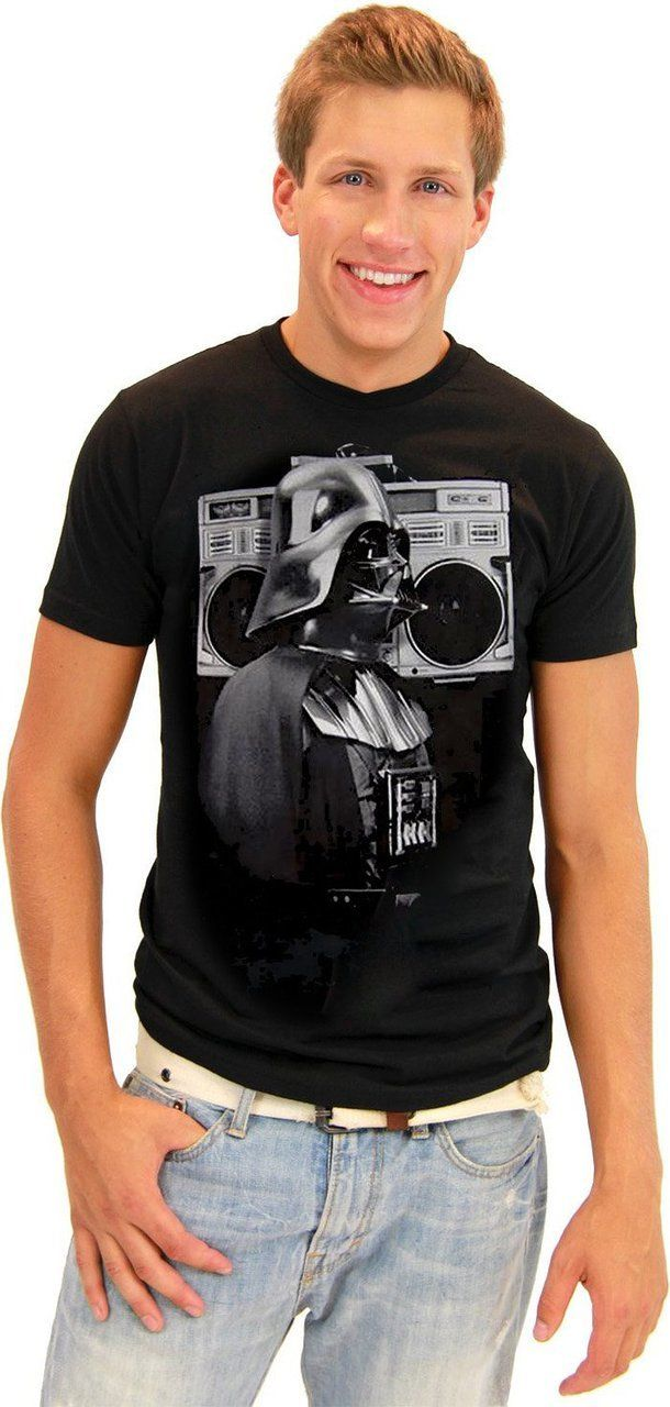 Damn!  Look at Vader's boom box!  Go retro and show everyone how cool Darth Vader actually is when you wear this officially-licensed Star Wars Darth Vader t-shirt.  Featuring Darth Vader sporting a monster, old-school hip-hop boom box on his shoulder, seeing Darth Vader being old-school will give all your friends a laugh but also show them that you're the ultimate Star Wars fan.  This Darth Vader Star Wars t-shirt is awesome.