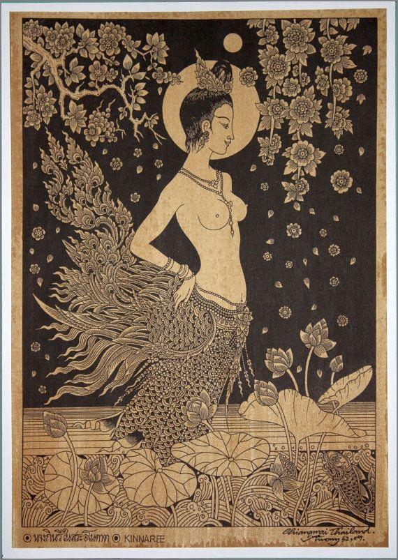 Thai traditional art of Kinnaree by silkscreen printing on sepia paper