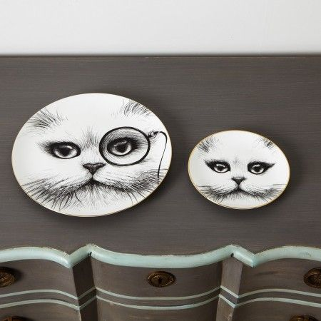 Monocle Cat Plates - View All Home Accessories - Home Accessories